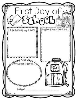photograph relating to Back to School Printable Worksheets titled Initially Working day of Higher education FREEBIE Again In direction of College Things to do