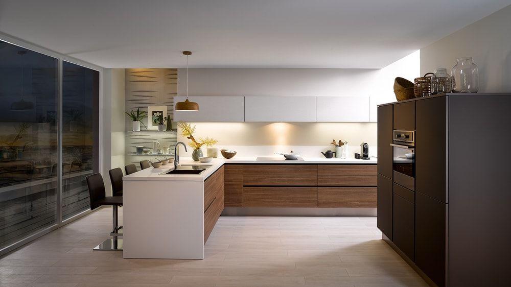 Cuisine Cuisinella Bois Et Blanc Style Moderne 200 Idees Deco