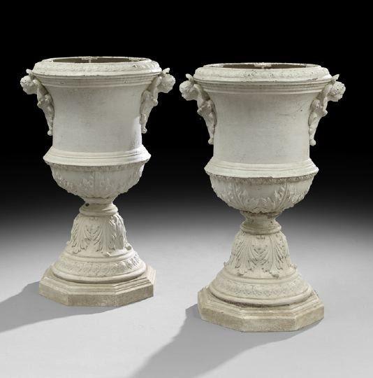 Vintage Cast Iron Urns   1807: Pair Of Antique Cast Iron Garden Urns :