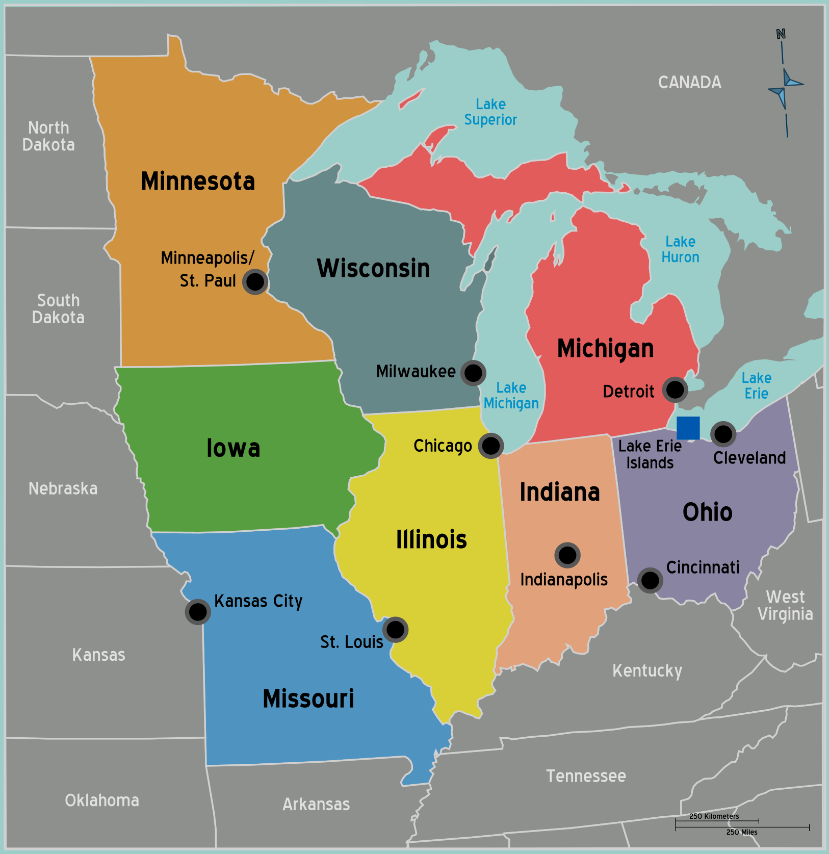 Us Mid West Map