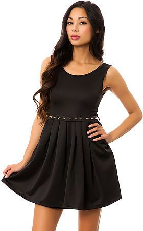Reverse The Ruffle Spike Belt Dress in Black on shopstyle.com