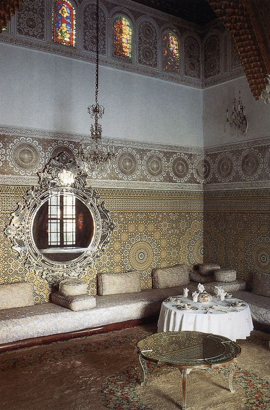 Pattern rich moroccan living room with sculpted ceilings - Moroccan living room ideas pinterest ...