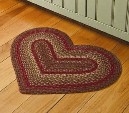 Country Braided Rugs Heart Decor