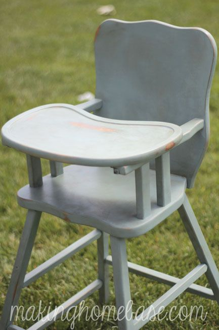 Vintage Wooden High Chair Painted with Annie Sloan Chalk Paint - Wooden High Chair With Annie Sloan Chalk Paint Wooden High