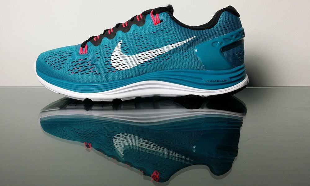 38dfe0696d56 ... Nike Lunarglide+ 5 599395-310 Tropical Teal Black Atomic Womens Running  Sneakers ...