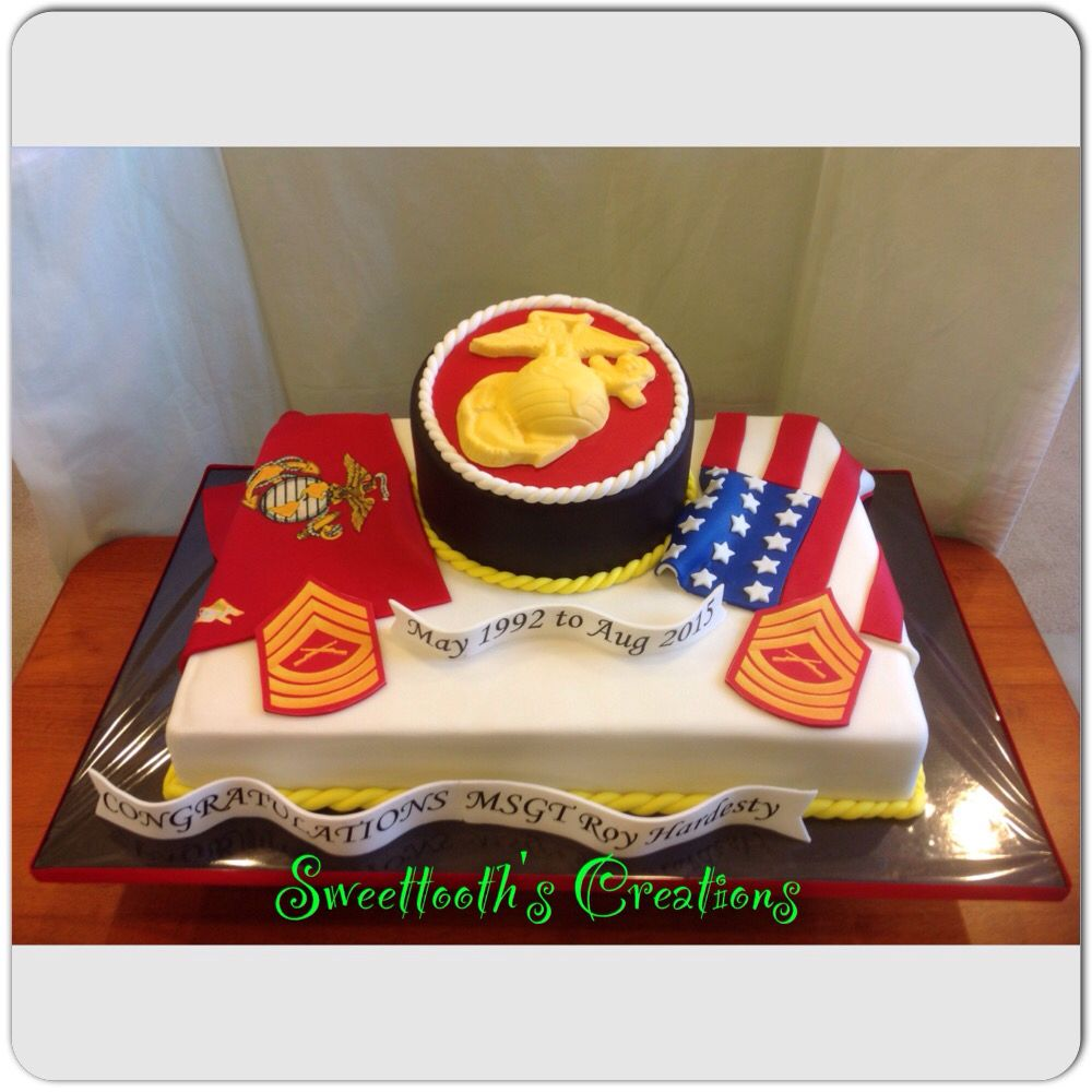 Marine Corp Retirement Cake With Images Retirement Cakes