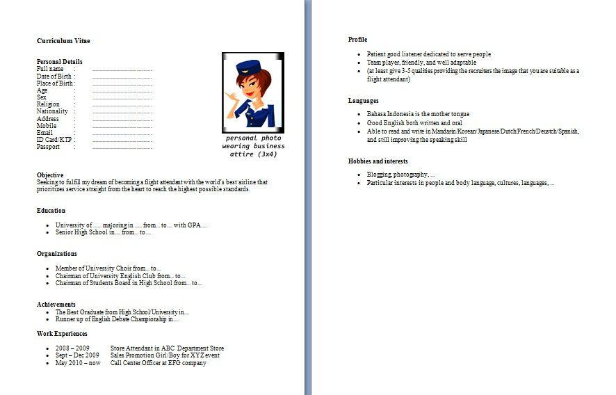 Hasil Gambar Untuk Contoh Resume Buat Lamaran Kerja Di Pramugari Yupzz
