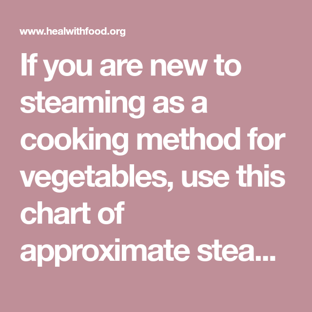 Photo of If you are new to steaming as a cooking method for vegetables, use this chart of…