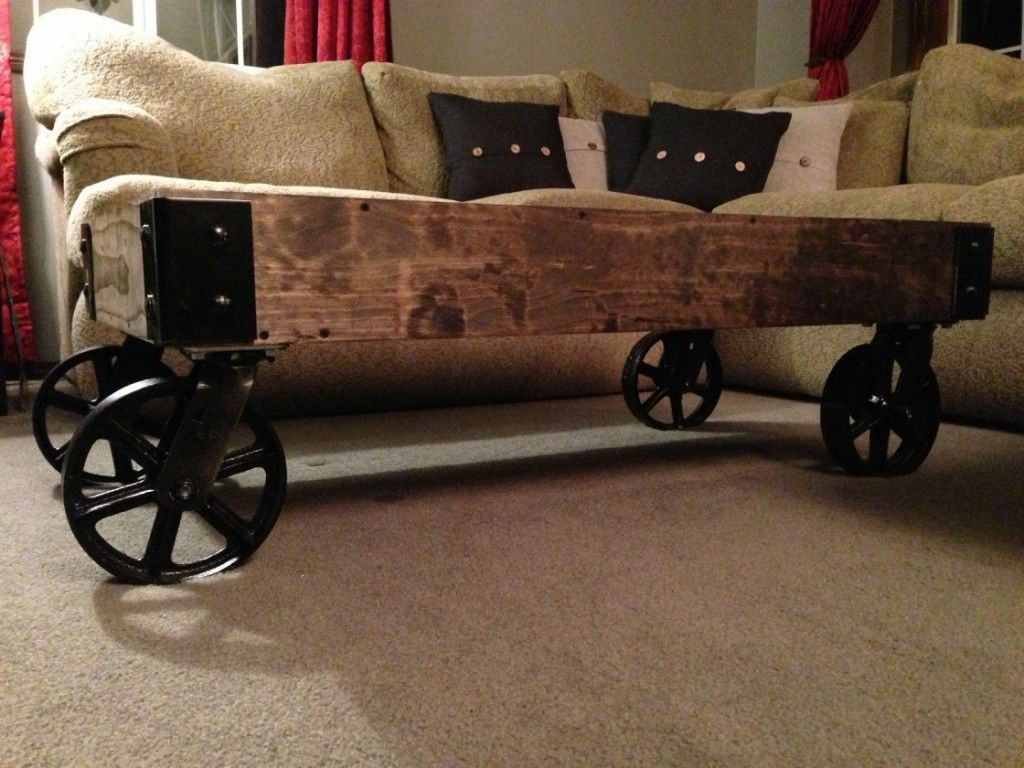 - Furniture : Oval Wood Coffee Tables Black Cast Iron Wheels Wood