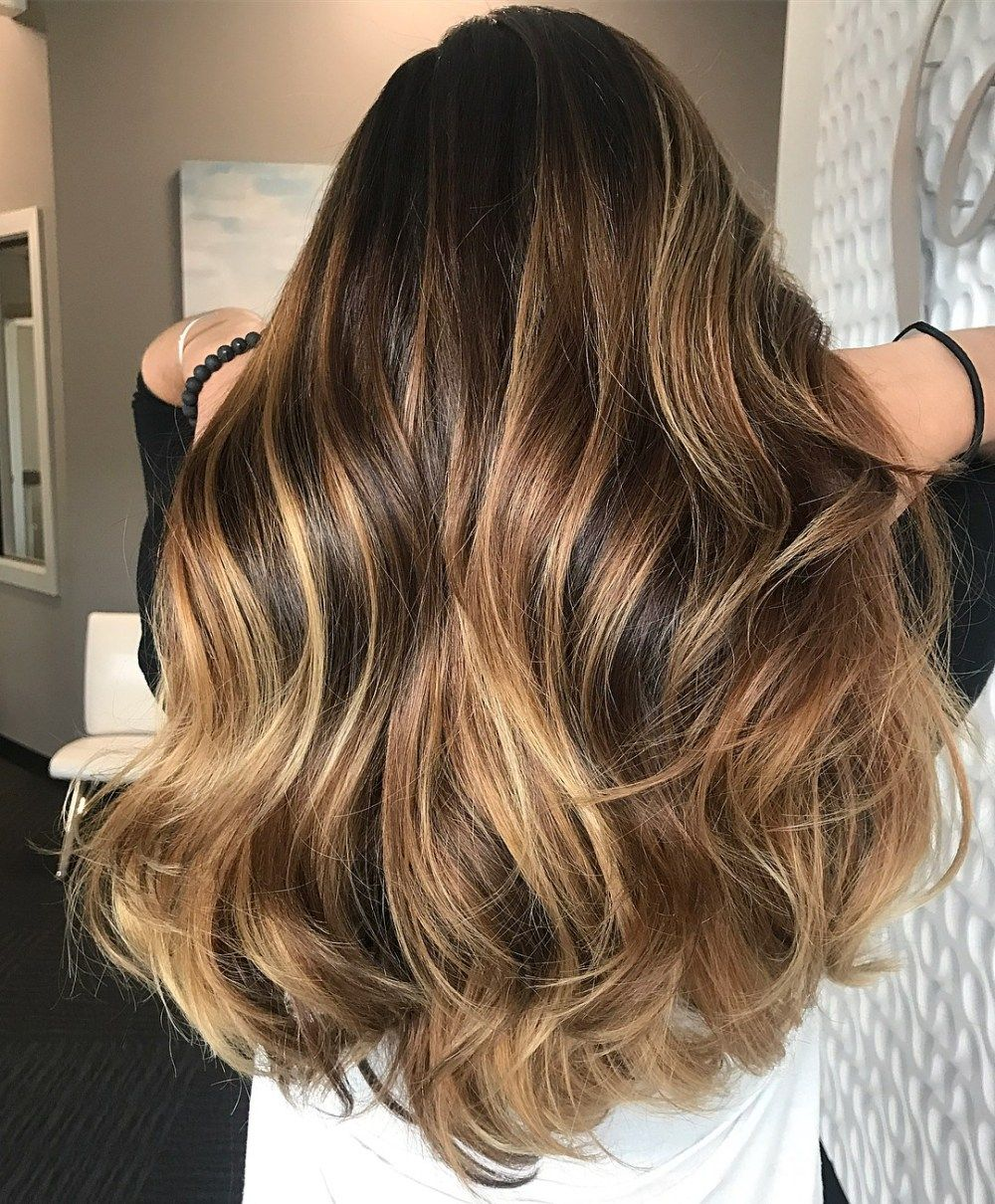 20 Ideas Of Honey Balayage Highlights On Brown And Black Hair Brunette Hair Color Blonde Hair Color Honey Balayage