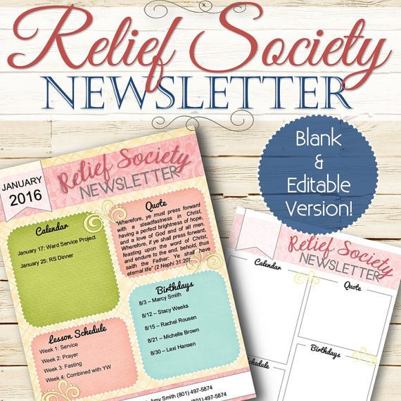 EDITABLE Relief Society Newsletter - INSTANT DOWNLOAD