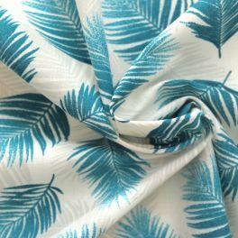tissu en coton a motif tropical bleu