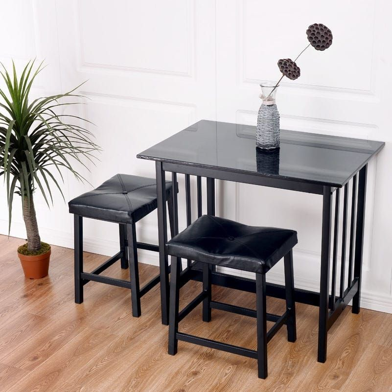 costway 3 pcs modern counter height dining set table and 2