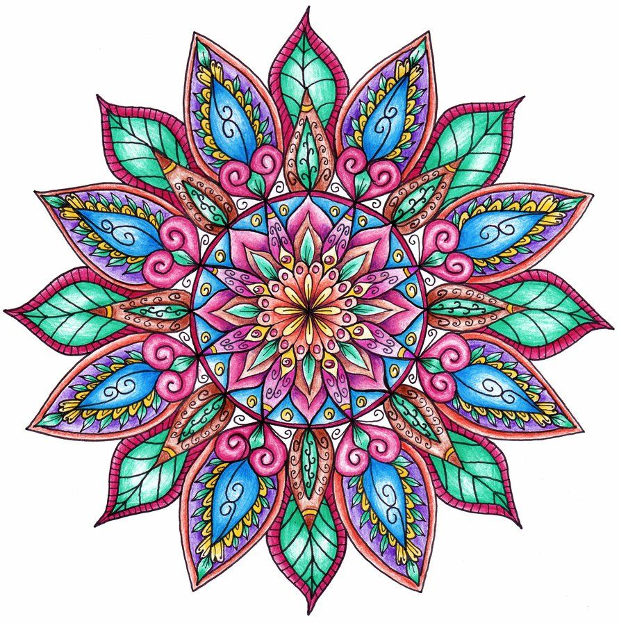 Pattern Flower Drawing With Colour Best 25 Flower Tattoo: Floral Mandala By WelshPixie