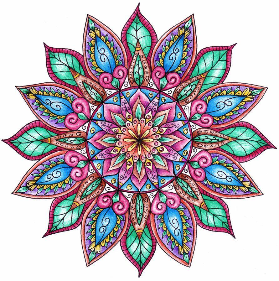 Finished Colouring Floral Mandala Colorful Mandala Tattoo Mandala Tattoo Mandala Coloring