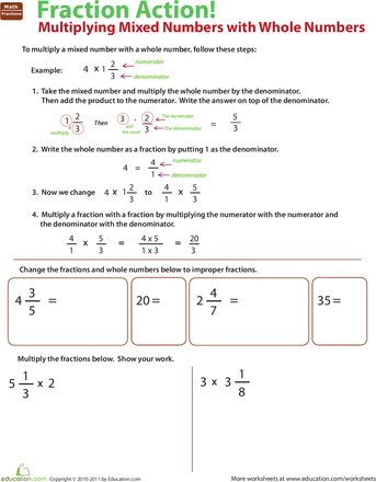 Multiply Mixed Numbers With Whole Numbers Worksheets Number And Math