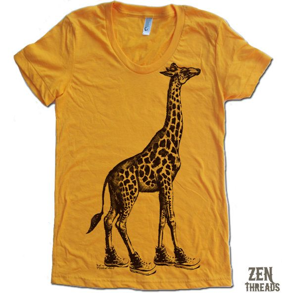Womens GIRAFFE in High Tops american apparel T Shirt by ZenThreads, $18.00