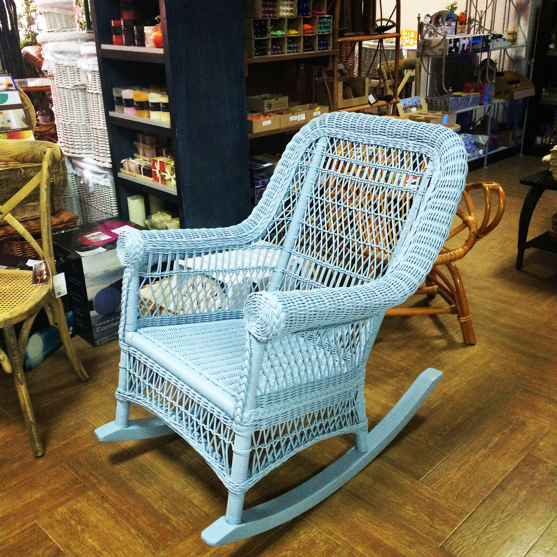 Mecedora De M Dula En Color Azul Sillones Y Mecedoras De Mimbre  # Muebles Mimbre Baratos