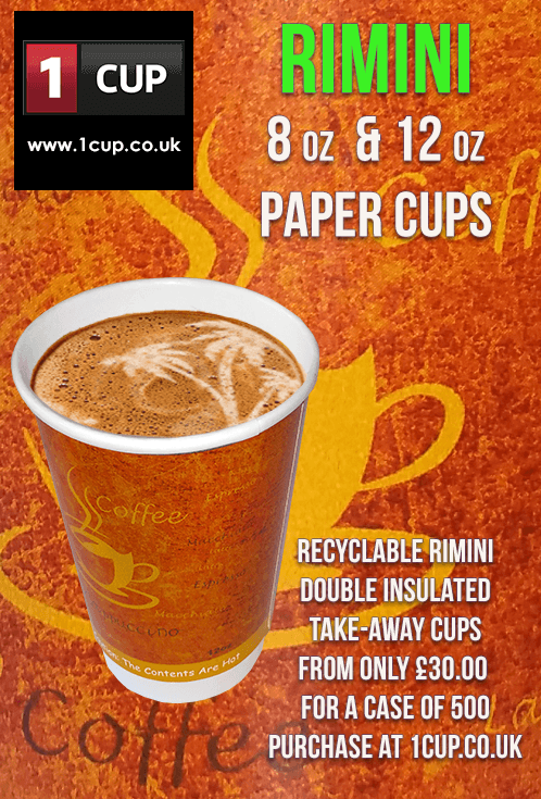 Take-away paper cups at £35 00 a case of 500  Rimini Paper cups are