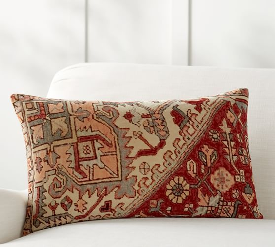 Yasmine Lumbar Pillow Cover | Pottery Barn   2 Patterned Pillows With  Similar Print To The Chair To Use On The Sofa