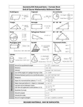 Geometry Eoc Released Items Formula Sheet Released Materials May Be Duplicated B A C R H H R H L En Geometry Formulas Grade 9 Math Math Formulas Geometry worksheet 10th grade