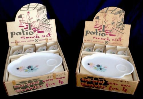 VTG-14-Piece-PATIO-SET-FEDERAL-GLASS-ATOMIC-FLOWER-White-Ware-1950S-In-Box