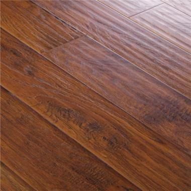 Aj Trade Aj Trading Mega Clic Winston Hickory Laminate 12 Mm Hand Scraped Embossed 5 5 Wide Boards Available At H Laminate Flooring Flooring Hardwood Floors