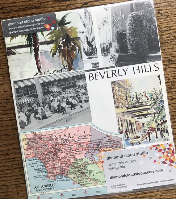 let s travel to beverly hills california vintage collage planner