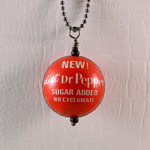 Diet Dr Pepper Upcycled Bottlecap Pendant Necklace by XOHandworks $14