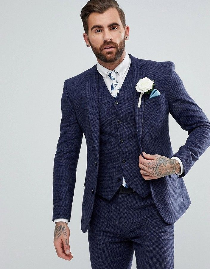 6cffb59eed22 DESIGN wedding super skinny suit jacket in blue micro check ...