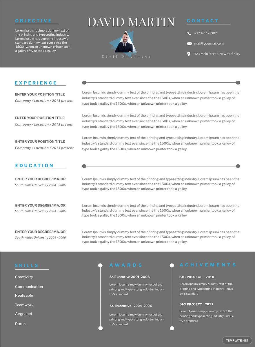 Free senior civil engineer resume template in 2020 civil
