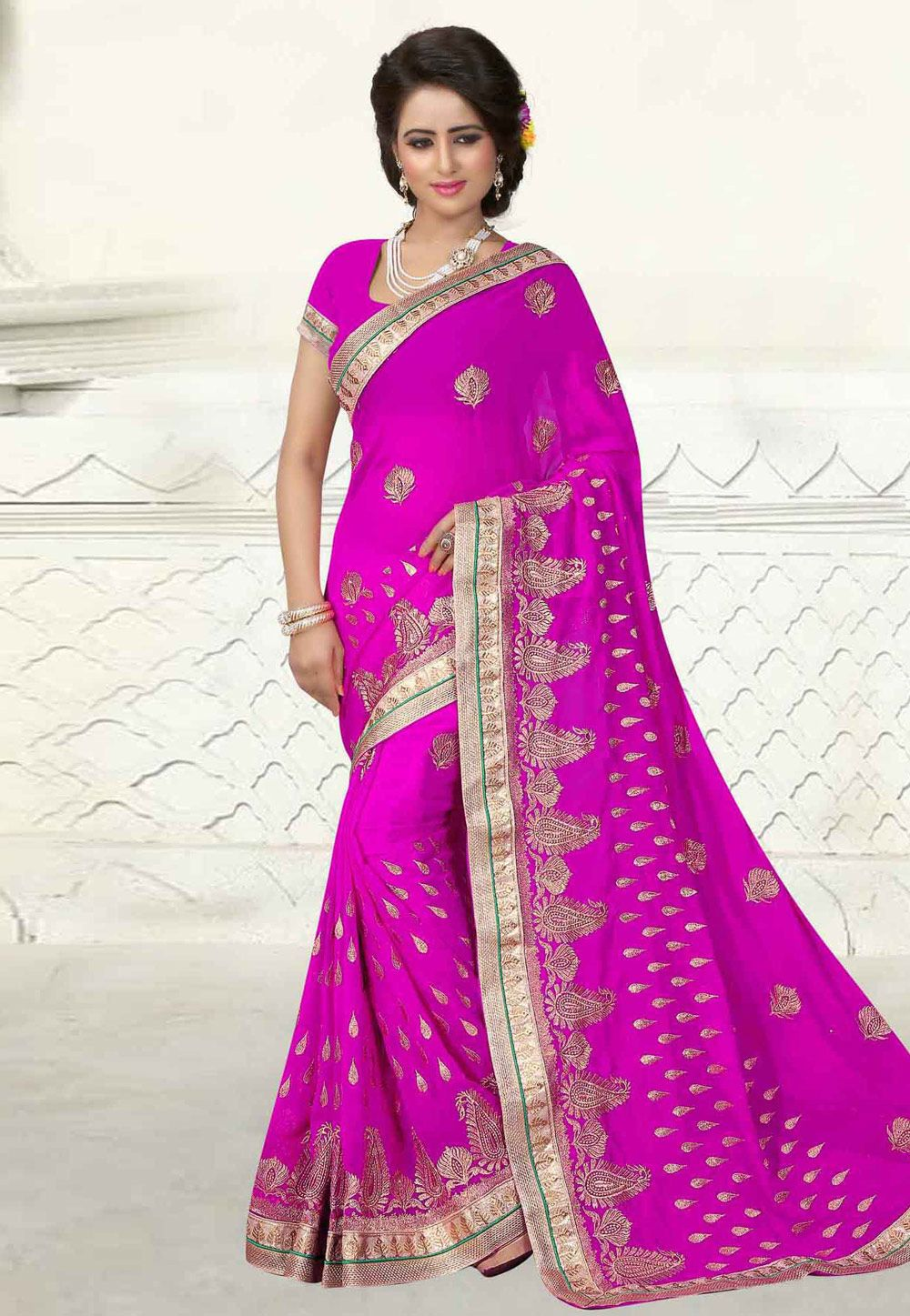 250c7b6cc7f26 Buy Magenta Georgette Saree With Blouse 163176 with blouse online at lowest  price from vast collection of sarees at Indianclothstore.com.