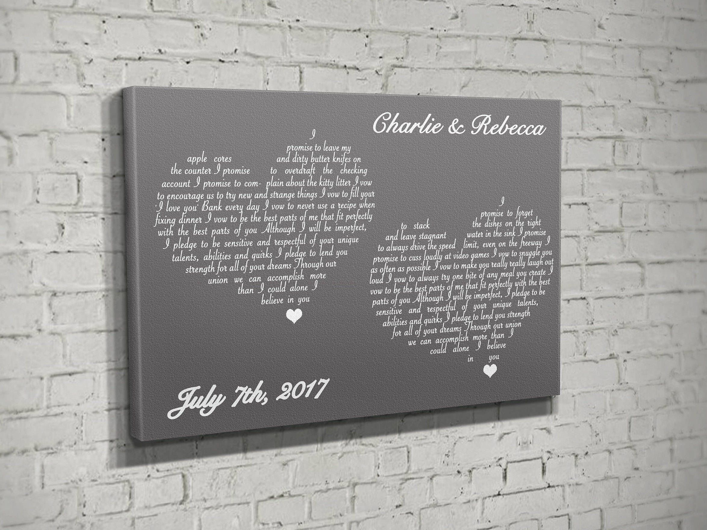 Wedding vow renewal on canvas, custom vow keepsake, vows