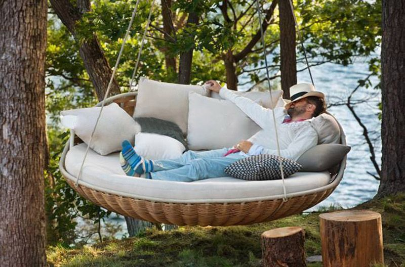 Round Rattan Outdoor Bed Outdoor Swing Hanging Bed In 2019