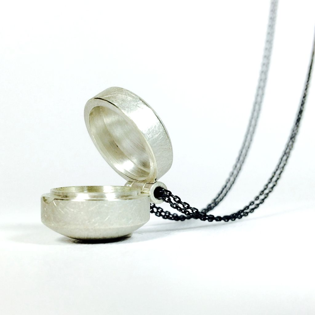 Relic silver hinged container locket contemporary necklaces relic silver hinged container locket contemporary necklaces pendants by contemporary jewellery designer sophie stamp aloadofball Image collections