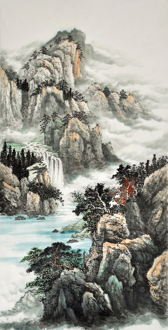 Modern Art Famous Artists Feng Shui Painting Nature For Sale Mountain Landscape Painting Chinese Landscape Painting Landscape Paintings Mountain Landscape Painting