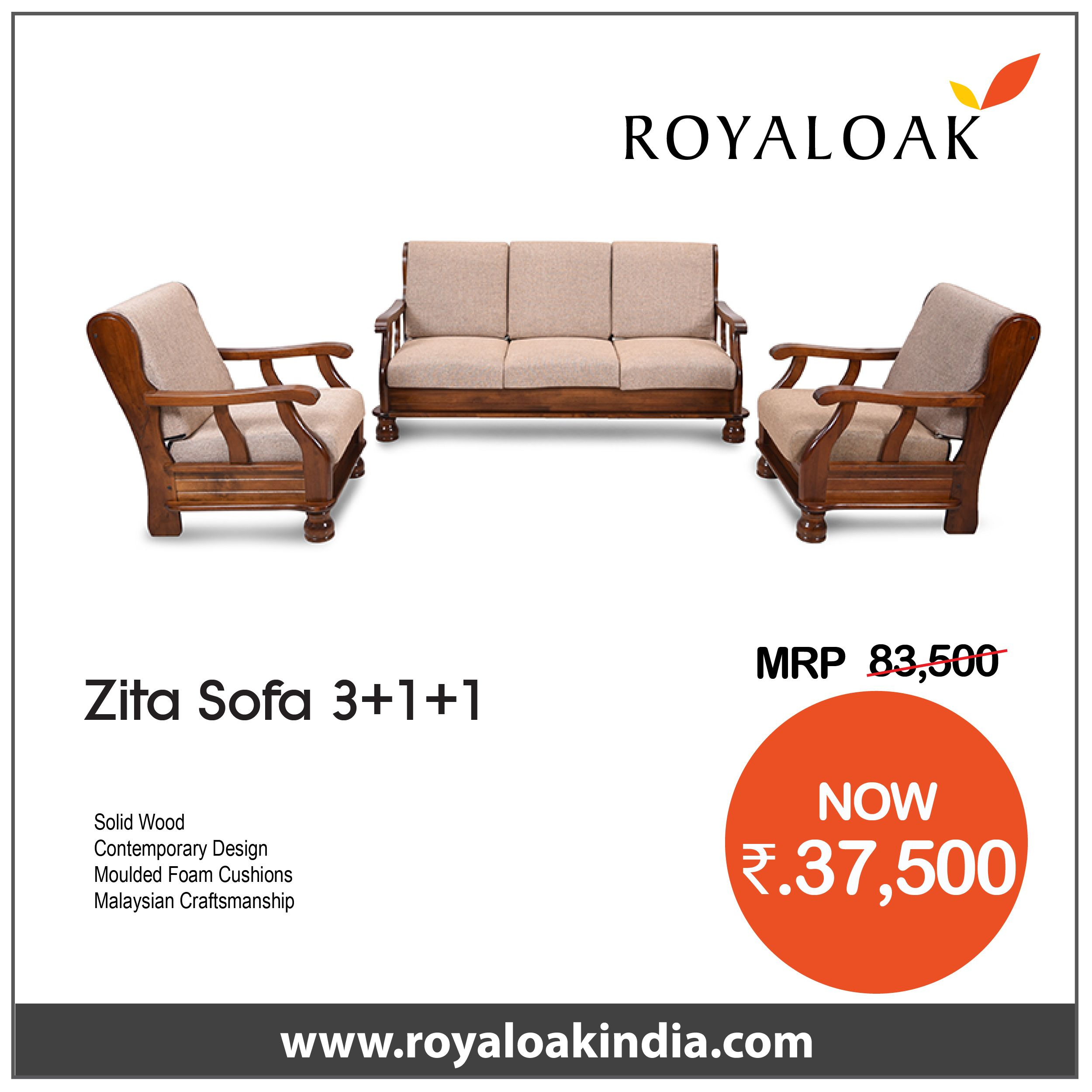 Royaloak Zita 3 1 1 Solidwood Sofa Set Wooden Sofa Set Buy Sofa Sofa Set