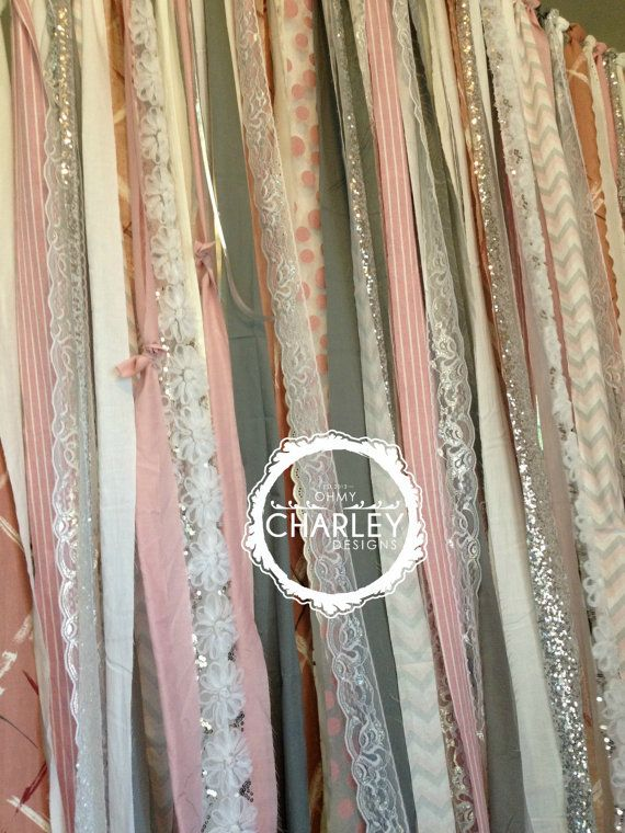 Pink Grey & SIlver Sparkle Sequin Fabric Backdrop