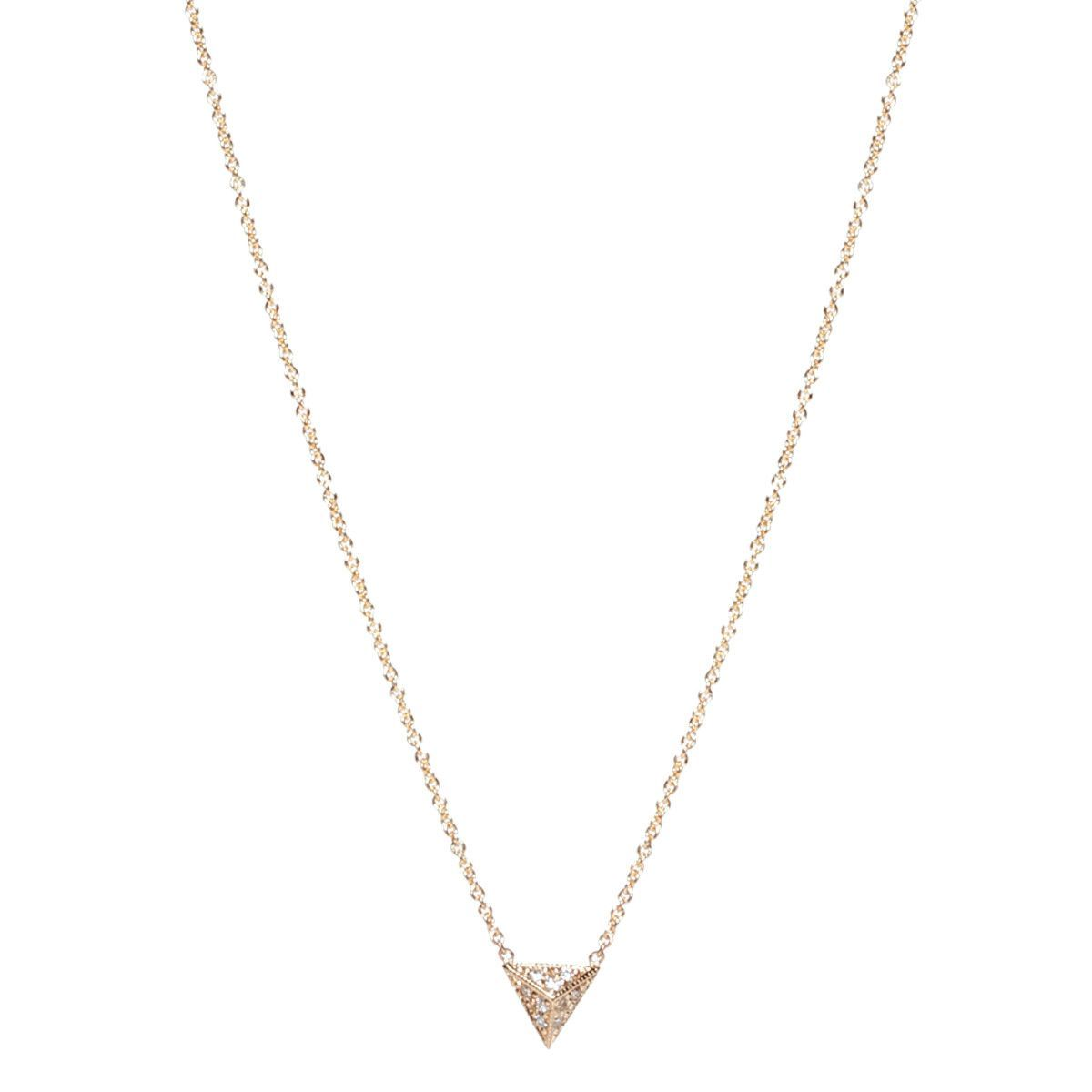 14k pave triangle pyramid necklace
