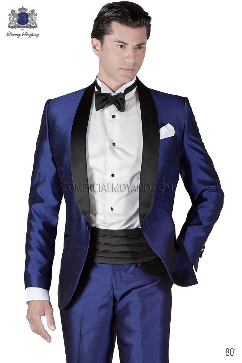 Fashion Style One Button Blue Groom Tuxedos Groomsmen Mens Wedding ...