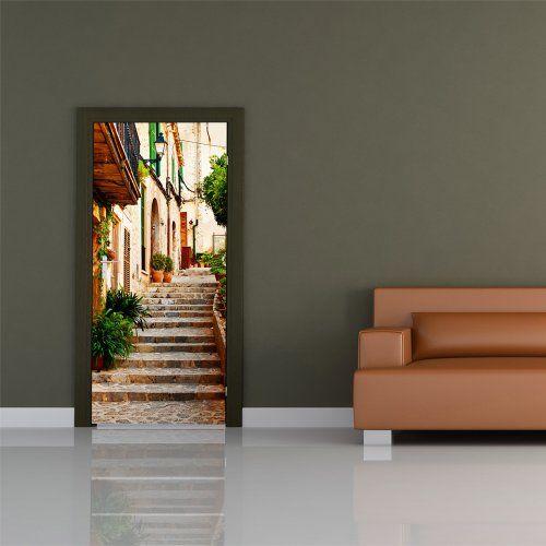 Door wallpaper withitalian by lane motiv non woven for Door wallpaper mural