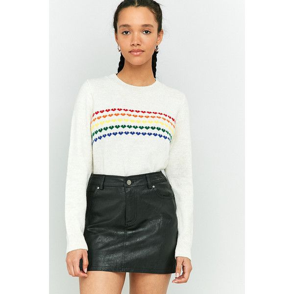 Cooperative by Urban Outfitters Urban Outfitters Rainbow Heart Motif  ($50) ❤ liked on Polyvore featuring tops, sweaters, ivory, white crew neck  sweater,
