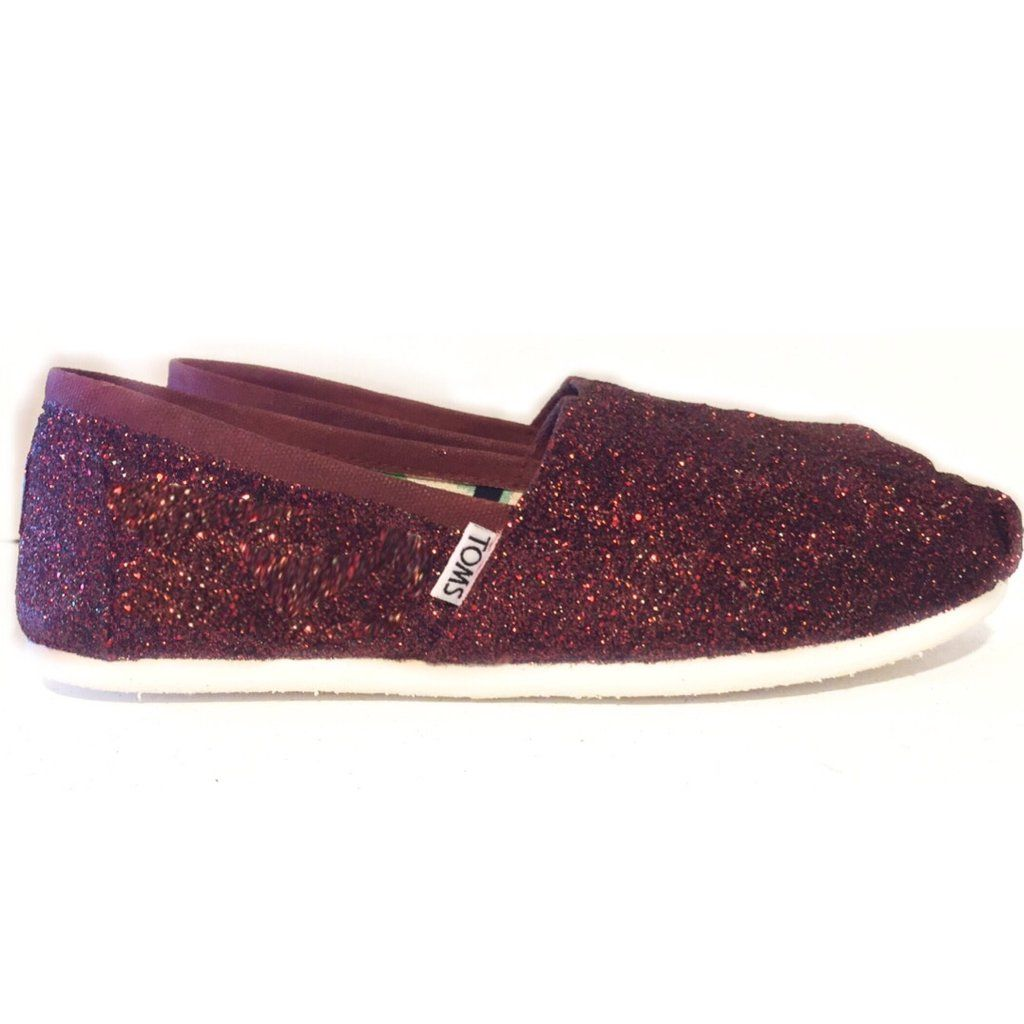 bce18ee8029c Womens Sparkly Burgundy Maroon Glitter Toms Flats shoes  www.glittershoeco.com