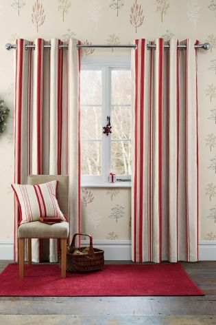 Buy Red Ribbon Woven Stripe Eyelet Curtains From The Next