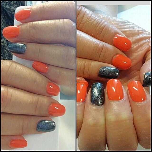 Orange black shimmer nails