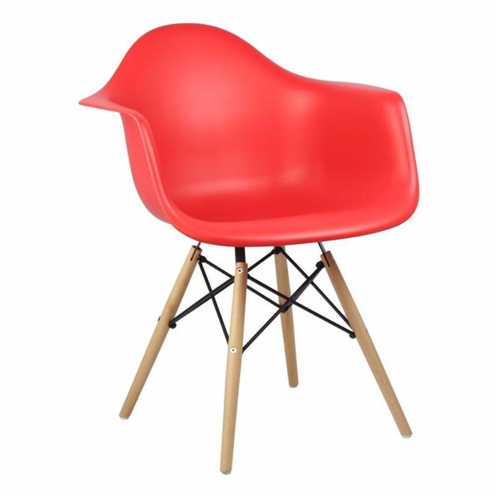 Compre Cadeira Design Charles Eames PW 082 Com Braço Vermelho Na Engloba  Shop! Ofertas