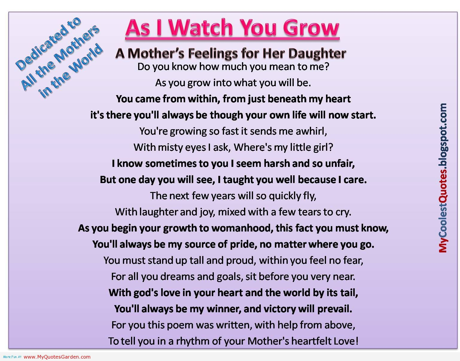 Mother Daughter Love Quotes Mother's Love For Her Daughter When She Was Growing Up  Mother