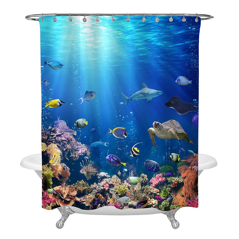 Underwater Scene With Coral Reef And Tropical Fish Shower Curtain