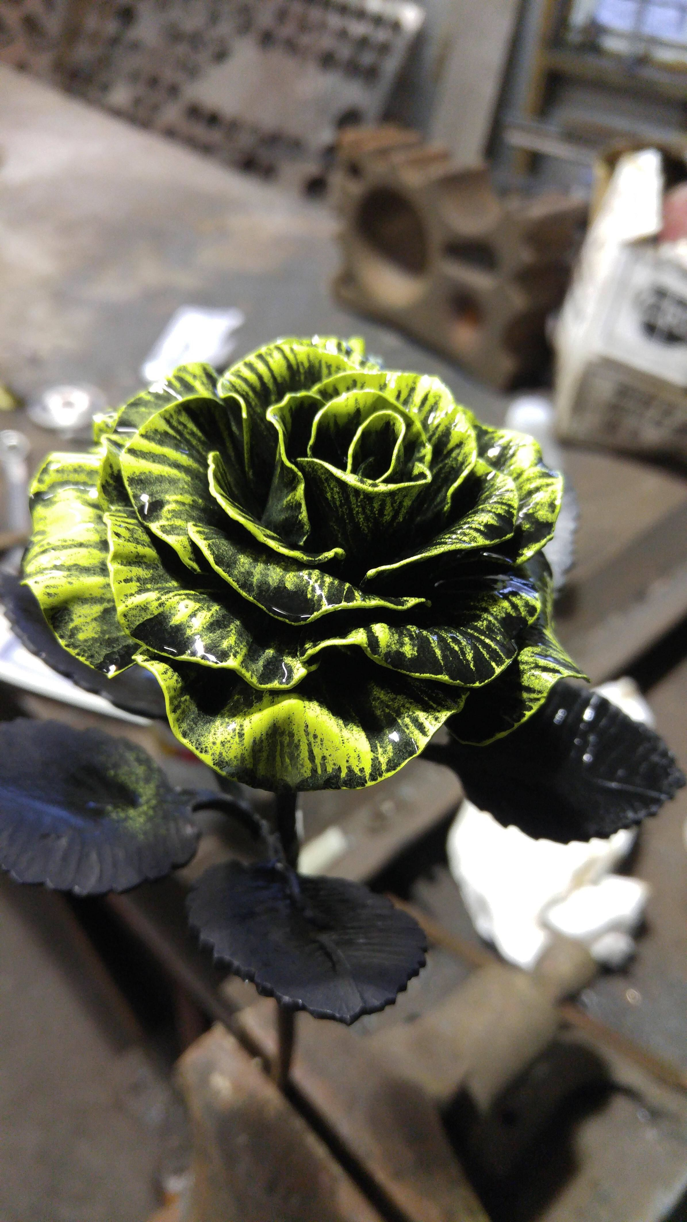 Pushing The Limit A Painted And Forged Steel Rose Hand Forged