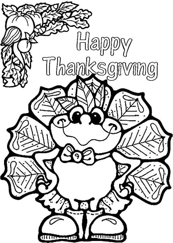 Thanksgiving Turkey Coloring Page Halloween Fall